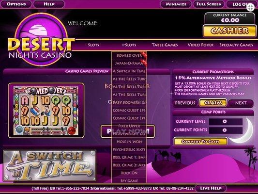 Desert Nights Casino software screenshot