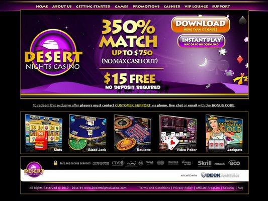 Desert Nights Casino website screenshot