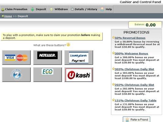 Desert Nights Casino cashier screenshot
